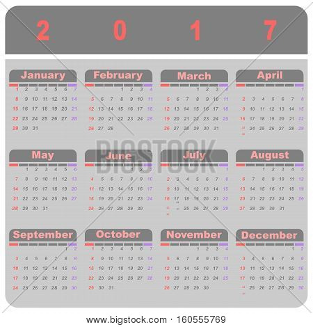 Beautiful demo 2017 calendar template stock vector
