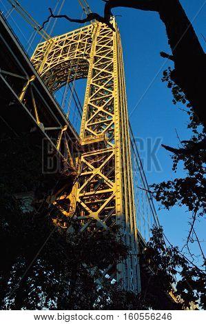 Tower of George Washington Bridge at sunrise.