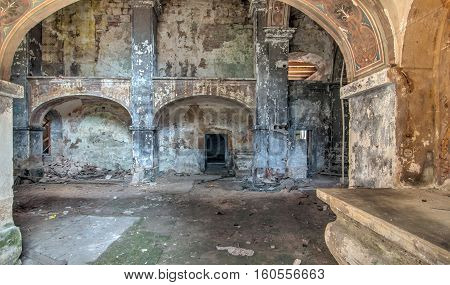 Interior of the ruined and abandoned church of All Saints in Czech republic