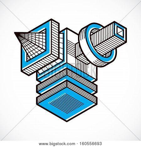 Abstract Trigonometric Construction, Vector Dimensional Design Template.