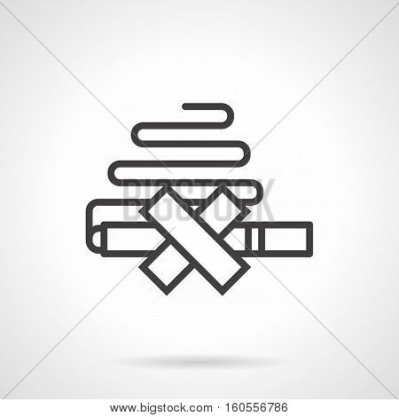 Abstract no smoking sign. Symbol for get rid of nicotine addiction. Life without tobacco concept. Black simple line style design vector icon.