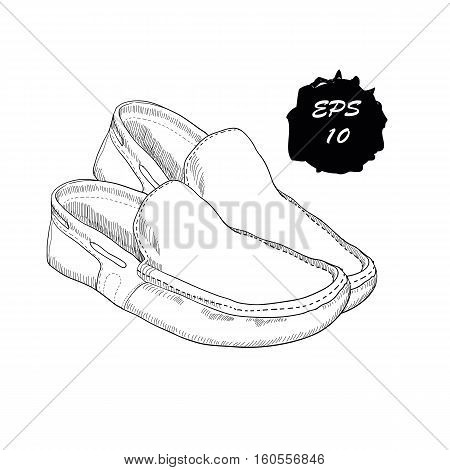 Vector illustration of hand drawn graphic Men moccasins on white background. Casual style of footwear. Doodle Design isolated object for logo.