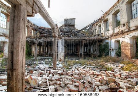 Abandoned and ruined old factory - ruins