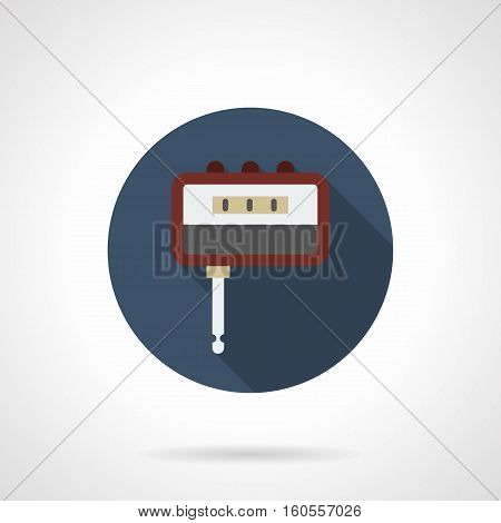 Digital tool for tuning guitar sound. Auto tuner for stringed musical instruments. Equipment for professional and qualitative music. Round blue flat design vector icon.