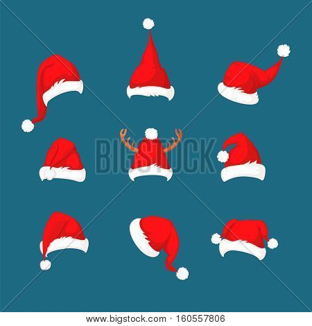 Santa Claus red hat collection isolated on blue background. Set of Santa red hats vector illustration. Happy New Year traditional symbol. Merry Christmas holiday clothes element