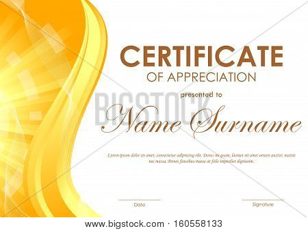 Certificate of appreciation template with digital light wavy background in orange and gold colors. Vector illustration