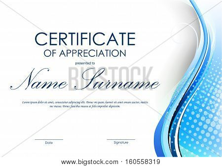 Certificate of appreciation template with blue dynamic curved wavy background. Vector illustration
