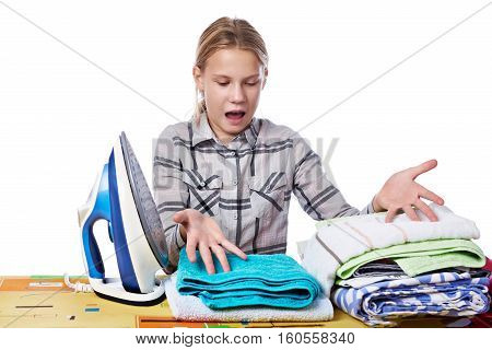 Emotional Girl With Washed Linen Around Ironing Board And Iron Isolated
