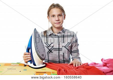 Girl With Washed Linen Around Ironing Board And Iron Isolated