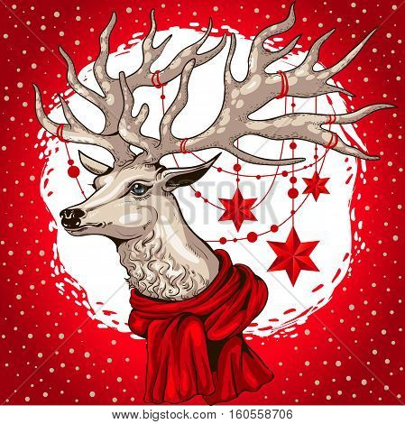 deer head with beautiful big horns decorated with Christmas garland with stars on the neck tied a red scarf on a red background
