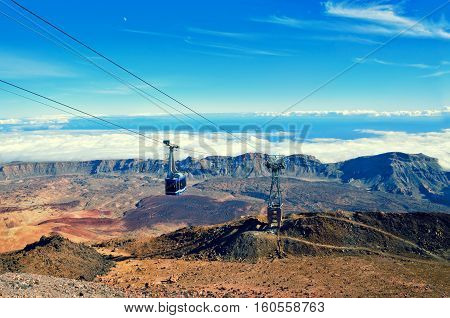 Cableway On The Volcano Teide. Touristic Way To Pico Del Teide Mountain.