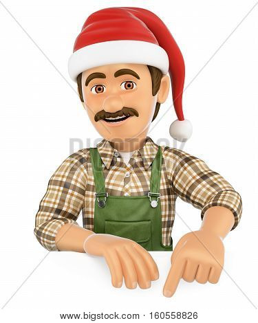 3d working people illustration. Gardener pointing down with a Santa Claus hat. Blank space. Isolated white background.