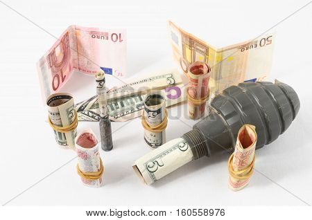 Money And Weapons Concept Weapons And Money