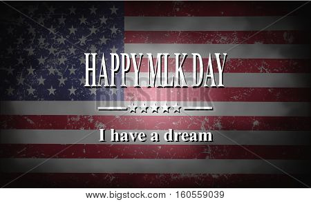 Happy MLK  Day American flag illustration