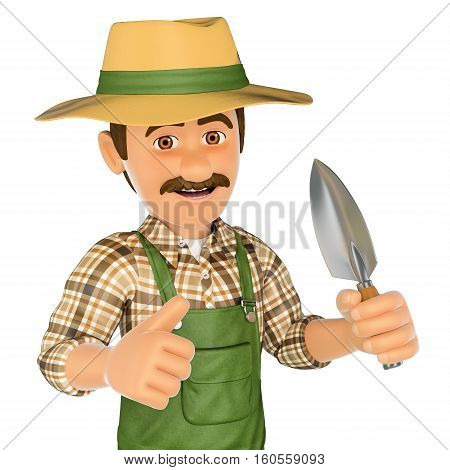 3d working people illustration. Gardener with a small spade. Isolated white background.