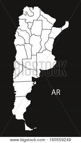 Argentina provinces Map black country illustration concept silhouette