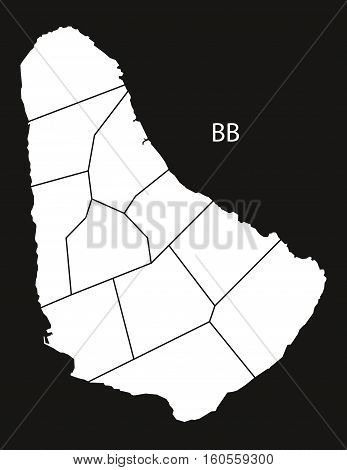 Barbados regions Map black country illustration concept silhouette