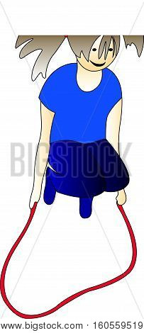 Girl jumping on a skipping rope., cartoon drawing