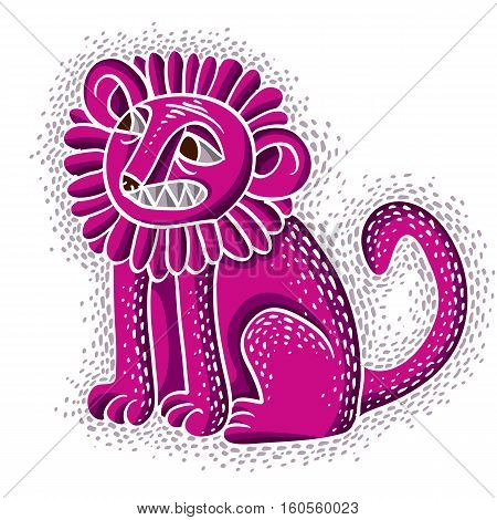 Vector Illustration Of Purple Sitting Lion With Teeth And Beautiful Mane, Emotional Expression Of Wi