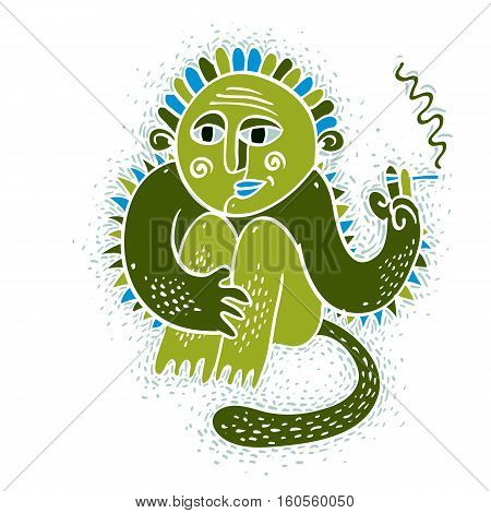 Vector Illustration Of Weird Monster Sitting And Smoking Cigarette. Cute Green Fictitious Mutant, Fr