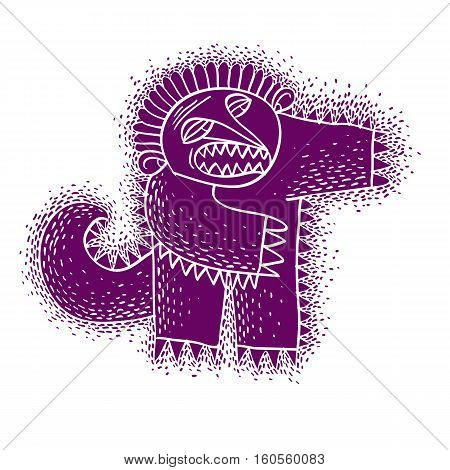 Vector Cute Halloween Character Ogre, Fictitious Creature. Cool Illustration Of Freak Purple Monster