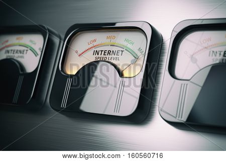 Internet speed level test concept. Maximum position. 3d illustration