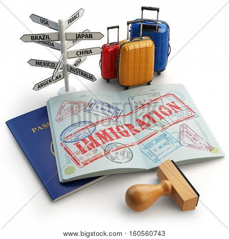 Immigration concept. Passport with stamps and visas, luggage and signboard with names of countries. 3d illustration