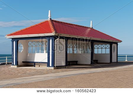 Iconic seaside shelter at Aberystwyth rebuilt after the devastating storms of January 2014