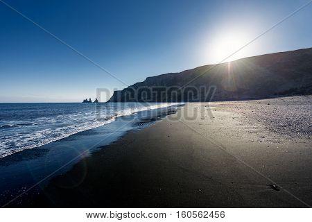 Beach near the village of Vik with black sand