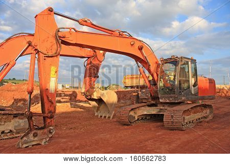 Diggers working on a road construction site