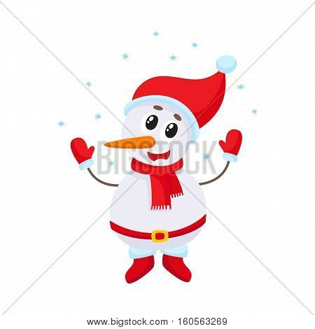 Cute and funny little snowman under falling snow, cartoon vector illustration isolated on white background. Funny snowman in hat and mittens happy with snowfall, Christmas season decoration element