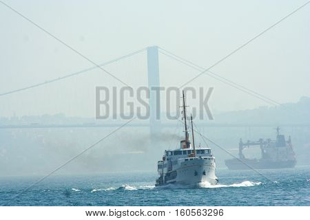 a vessel in sea, in İstanbul view