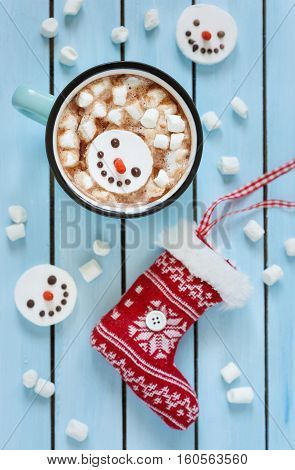 Sweet wintertimes drink hot chocolate with marshmallow