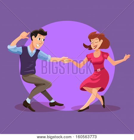 Vector illustration of dancing men and woman in cartoon flat style. Dance party concept with girl and boy. Illustration of dancing couple of happy young people isolated