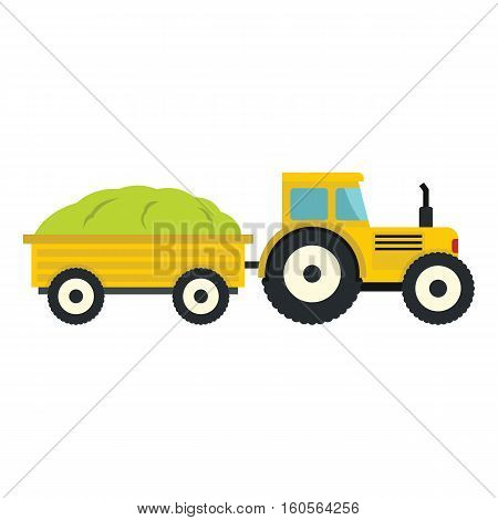 Tractor in cartoon style isolatedd on white background. elements for agro farm design