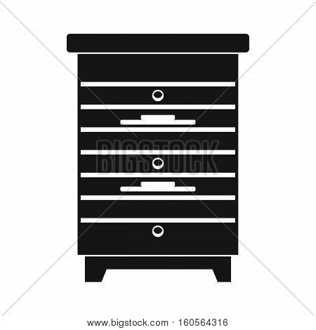Apiary honey hive in black flat style. Apiary icon for web. Vector illustration