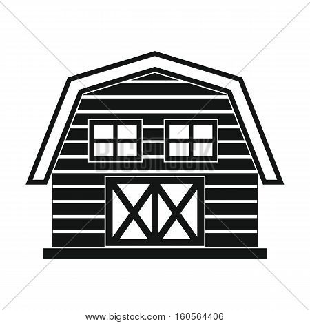 Farm house in black simple style isolated on white background. Farm agro building elements for you design