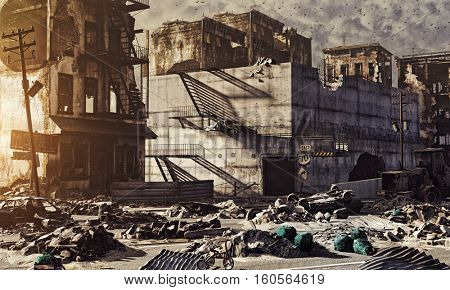 ruins of a city . 3d illustration concept