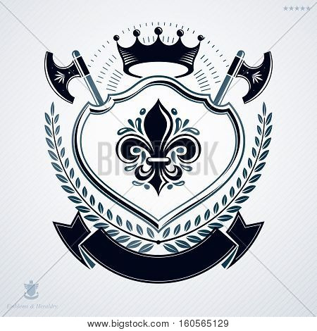 Heraldic Coat Of Arms Made In Retro Design, Decorative Emblem With Royal Crown And Hatchets