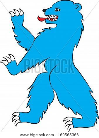 Bear in attacking the rack. Vector image