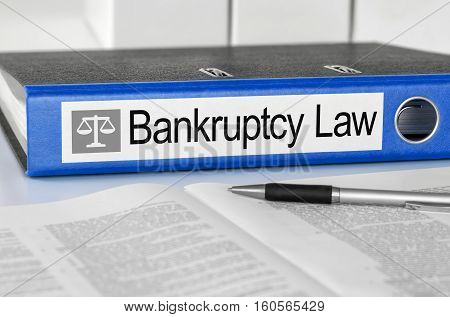 Blue Folder With The Label Bankruptcy Law