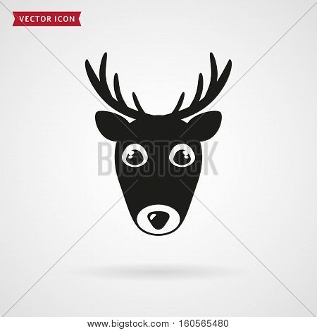 Deer icon isolated on white background. Vector illustration.
