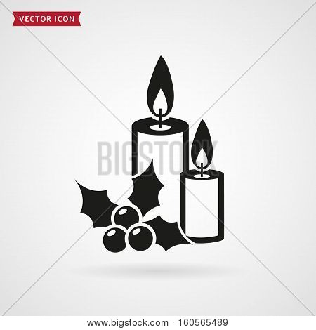 Candles with holly. Vector icon isolated on white background. Christmas symbol.
