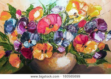 Texture Oil Painting Flowers, Painting Vivid Flowers