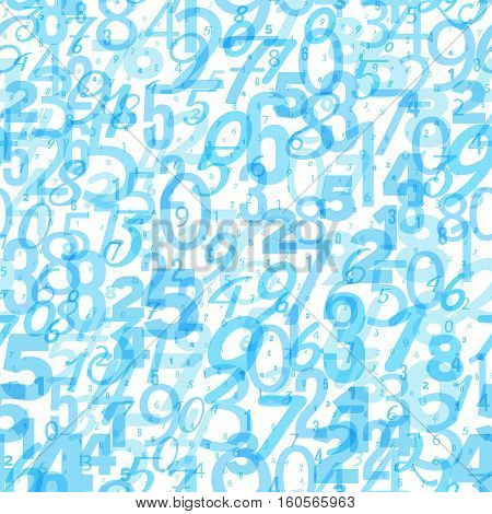 Mathematics background - different numbers in random pattern. Colorful school pattern for children. White and blue math background for kids. Seamless abstract vector pattern.