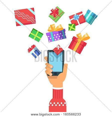 Vector illustration of a hand in christmas winter clothes holding a phone gadget gives Christmas gifts box or get gifts presents. Concept of online shopping in flat style