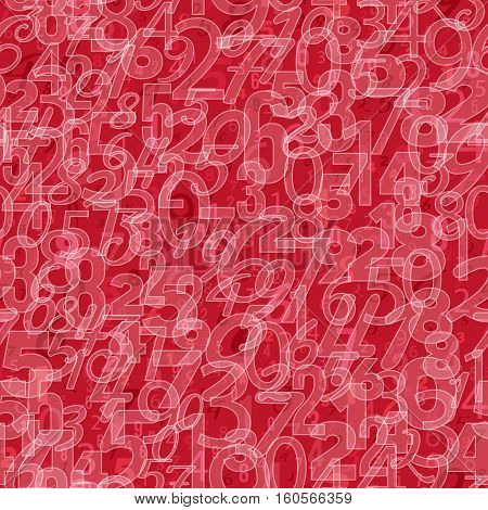 Mathematics background - different numbers in random pattern. Colorful school pattern for children. White and red math background for kids. Seamless abstract vector pattern.