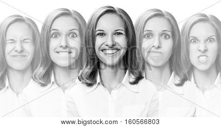 Collage of young girl changes her face expressions over white background
