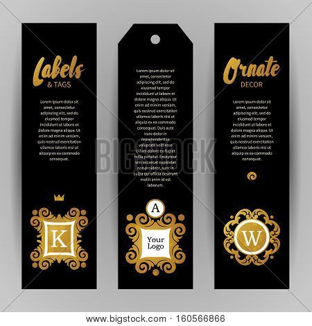 Vector Set Of Golden Luxury Labels.