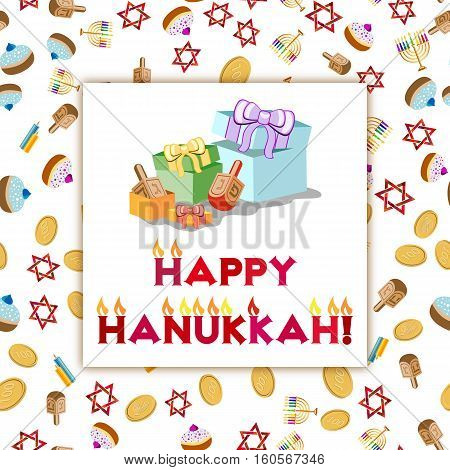 Postcard for greetings with Festival of Lights Feast of Dedication Hanukkah. Gifts and lettering with flames on colorful background with Hanukkah elements. Vector illustration